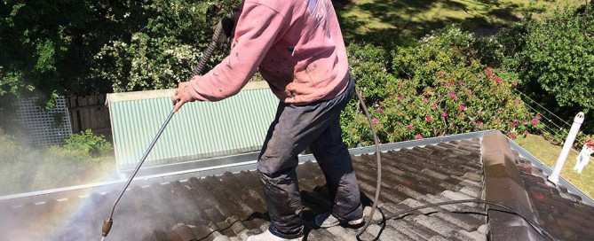 cleaning a dirty roof