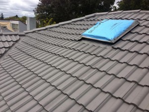 grey tiled roof - painted