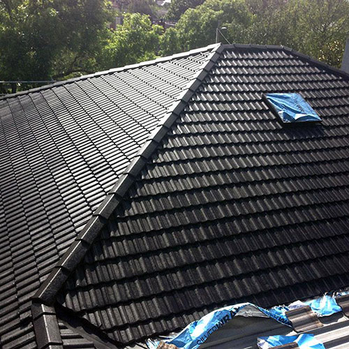 black painted roof
